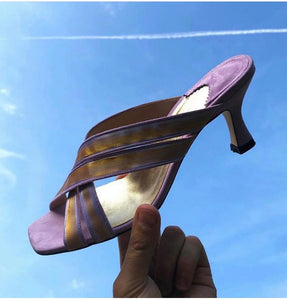 Purple Painted Suede Sandal