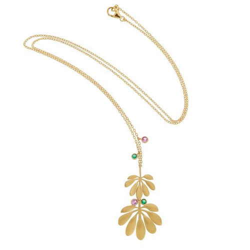 Tropical Dbl Leaf Necklace
