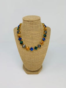Multi Blue & Gold Necklace