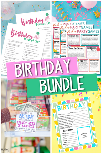 Birthday Printables Bundle - Bucket List, Games, Interview, RAK