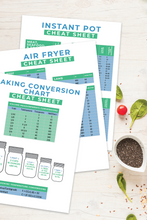 Load image into Gallery viewer, Kitchen Cheat Sheets Set - Instant Pot, Air Fryer and Baking Conversions
