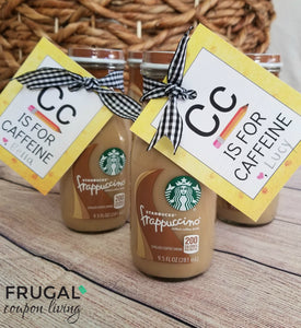 Teacher Appreciation C is for Caffeine Gift Tag