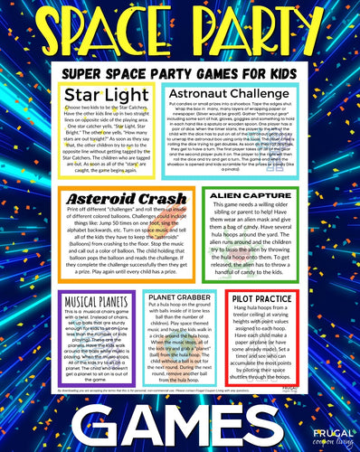 Out of this World Space Party Games List PDF