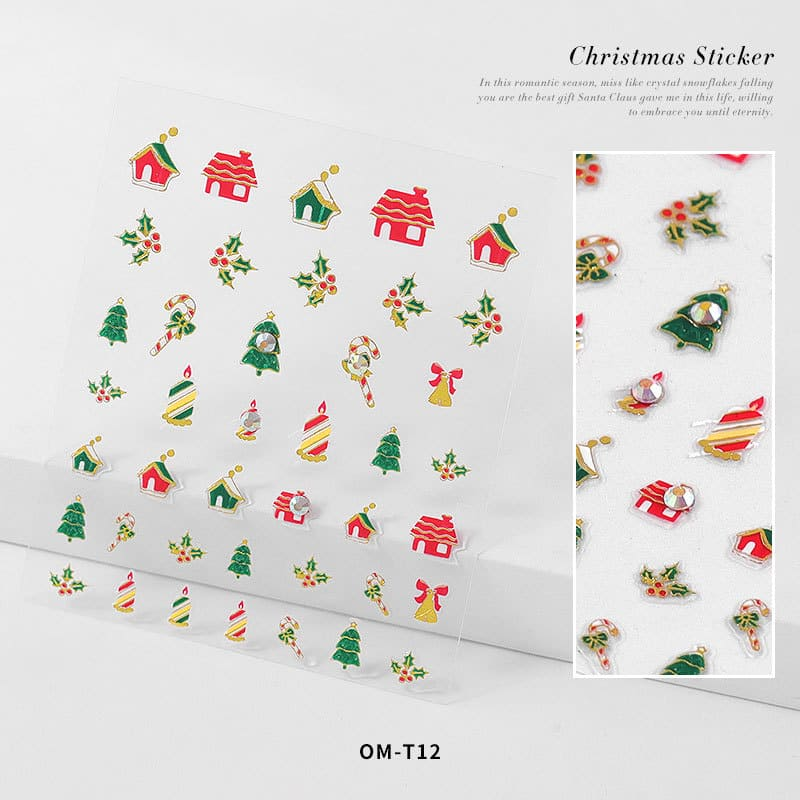 3D Christmas Nail Stickers with Diamonds