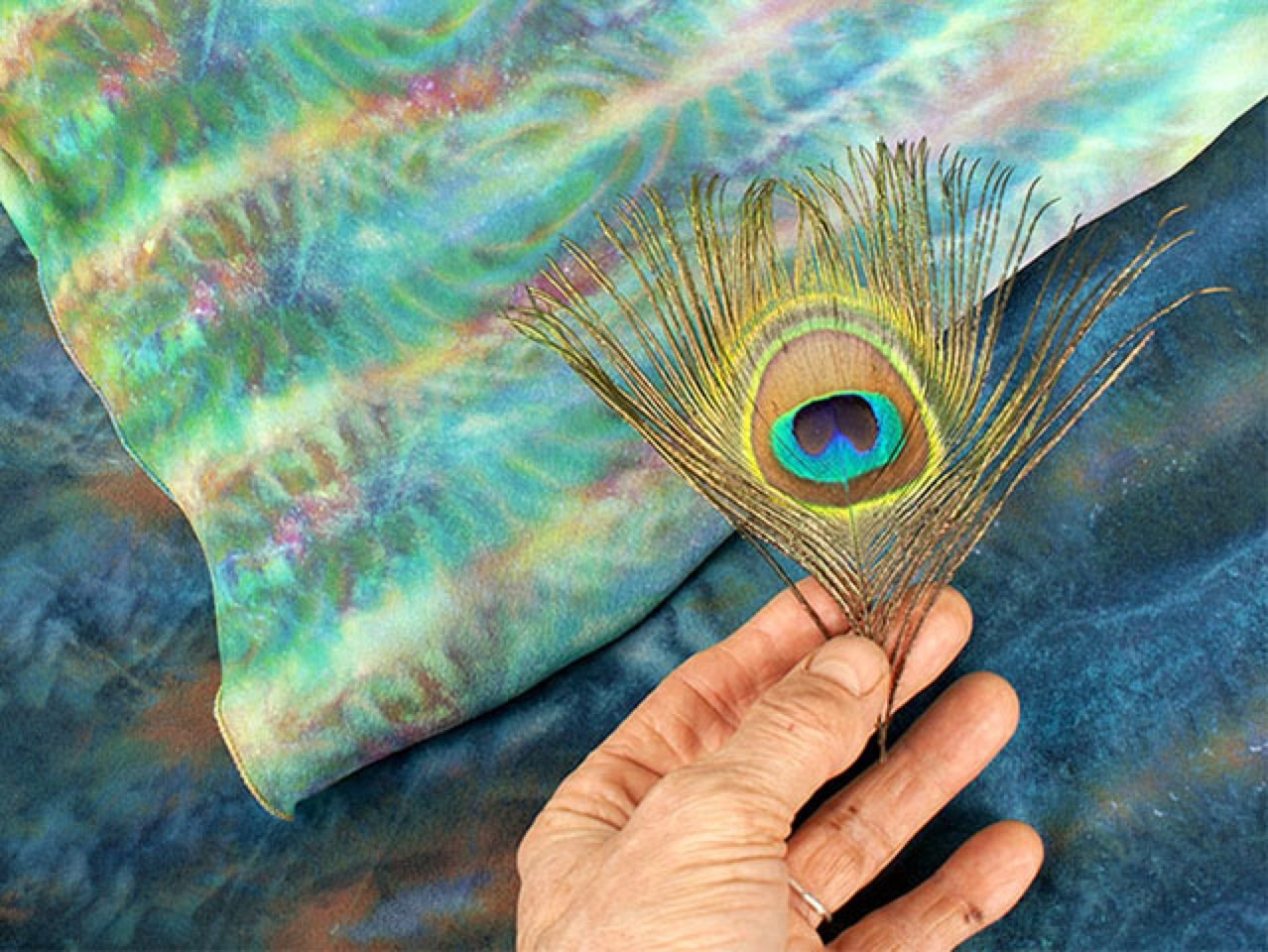 A colored feather with premium silk materials