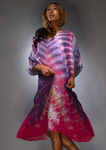 Model wearing a Silk Shibori Kaftan front view