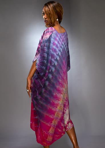 Model wearing a Silk Shibori Kaftan side view