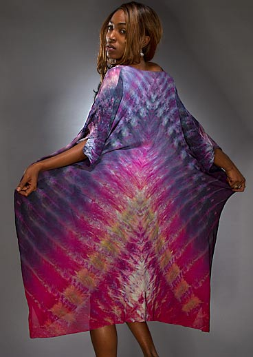 Model wearing a Silk Shibori Kaftan back view