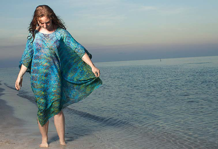 Model wearing a Silk Shibori Kaftan on a beach