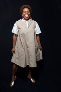 cotton khaki dress, made sustainably from second-hand fabric in Philadelphia PA