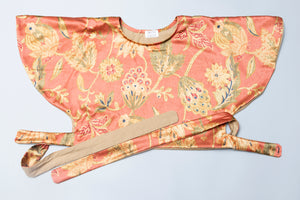 Circle Wrap Blouse in Ochre Floral