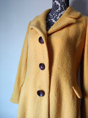 Vintage 1960s Yellow Boucle Wool Princess Coat