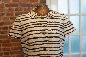 Vintage 1960s Leslie Fay Original Striped Shirt Dress