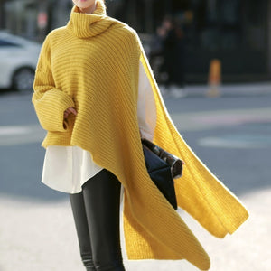 WB51907 DEAT Slit Side Turtleneck Batwing Slit Sweater
