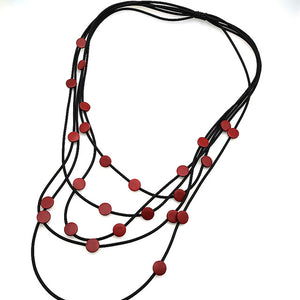 XL135 Rubber Strand Wood Dot Necklace
