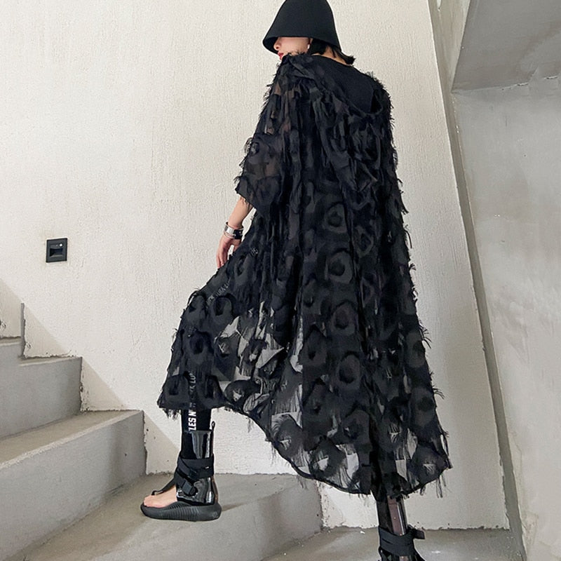 1T159 [EAM] Women Black Feathered Split OverSize Coverup/Dress new arrivals