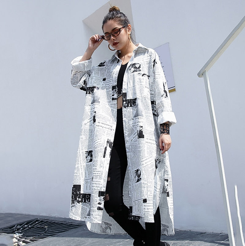 JF008 Lapel Long Sleeve White NewsPrint Oversize Top New Arrivals