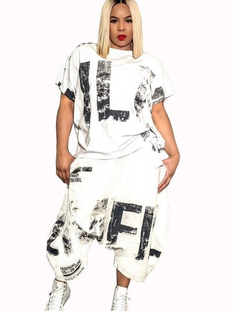 Letter Print Casual 2 Piece Set For Women T Shirt Tops And Harem Pants Casual Outfit new arrivals