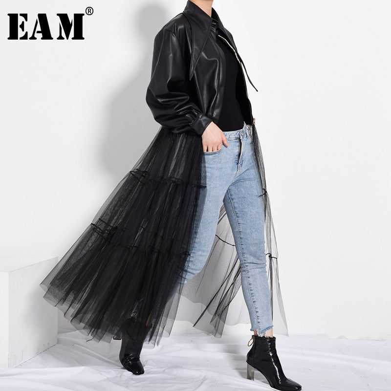 PB27901 Loose Fit Black Mesh Long Pu Leather Jacket New Arrivals