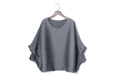 YE112 -  Loose Pleated Batwing Half Sleeve Oversize Top