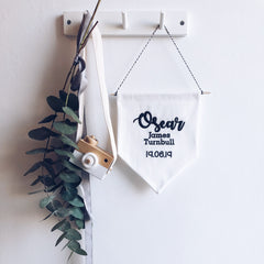 Little Shy Personalised Embroidered Hanging Nursery Flag Decor