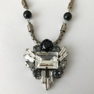 Jet Crystal Pendant Necklace - Heiter Jewellery