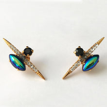 Load image into Gallery viewer, Black AB Gold Spike Stud Earrings - Heiter Jewellery