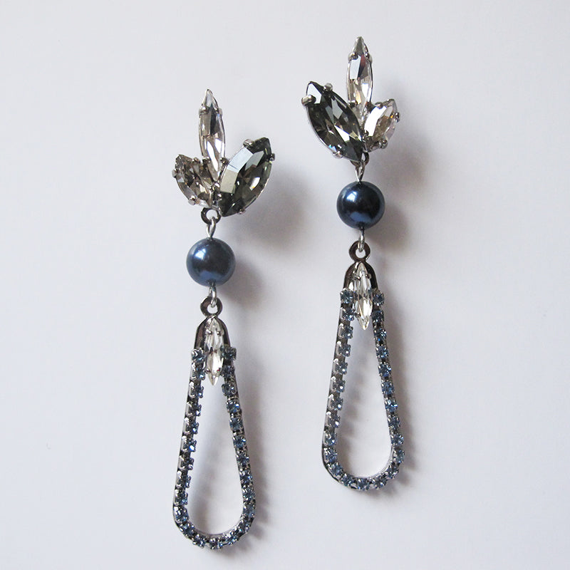Blue Pearl Moon Earrings - Heiter Jewellery