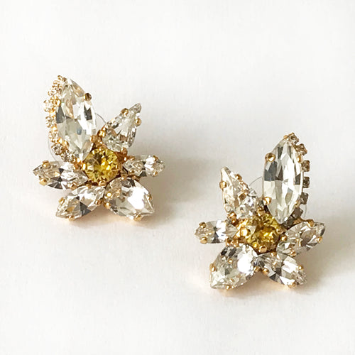 Crystal and Topaz Orchid Earrings - Heiter Jewellery