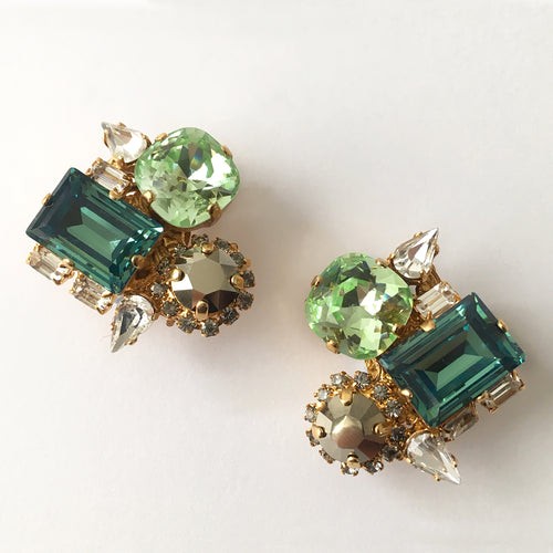Green Swarovski Crystal Earrings - Heiter Jewellery