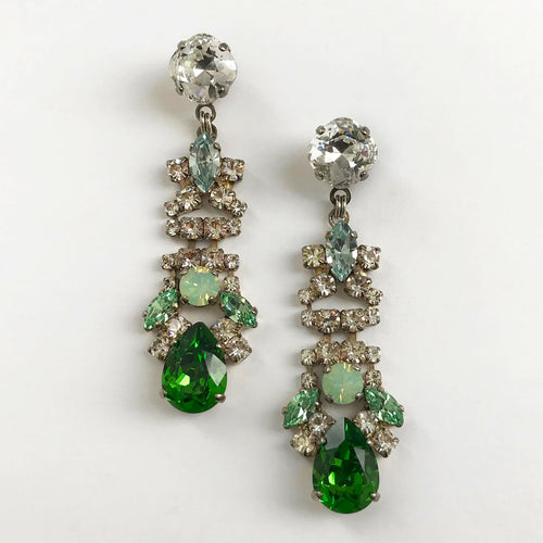 Green Drop Crystal Earrings - Heiter Jewellery