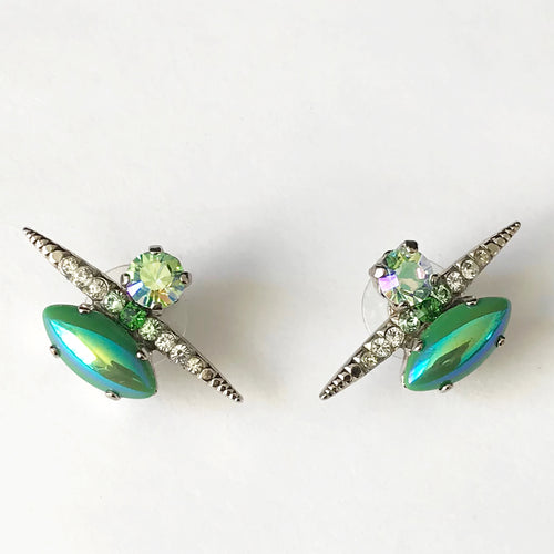 Green Silver Stud Earrings - Heiter Jewellery