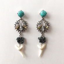 Load image into Gallery viewer, Flores Turquoise and Shark tooth Earrings - Heiter Jewellery