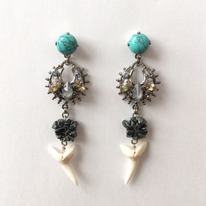 Flores Turquoise and Shark tooth Earrings - Heiter Jewellery