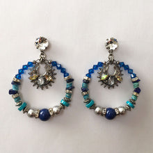 Load image into Gallery viewer, Flores Blue Hoop Earrings - Heiter Jewellery