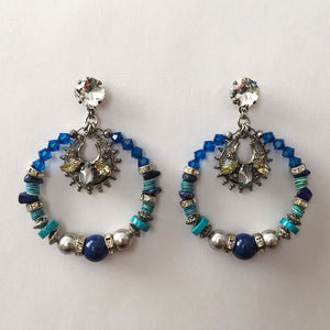 Flores Blue Hoop Earrings - Heiter Jewellery