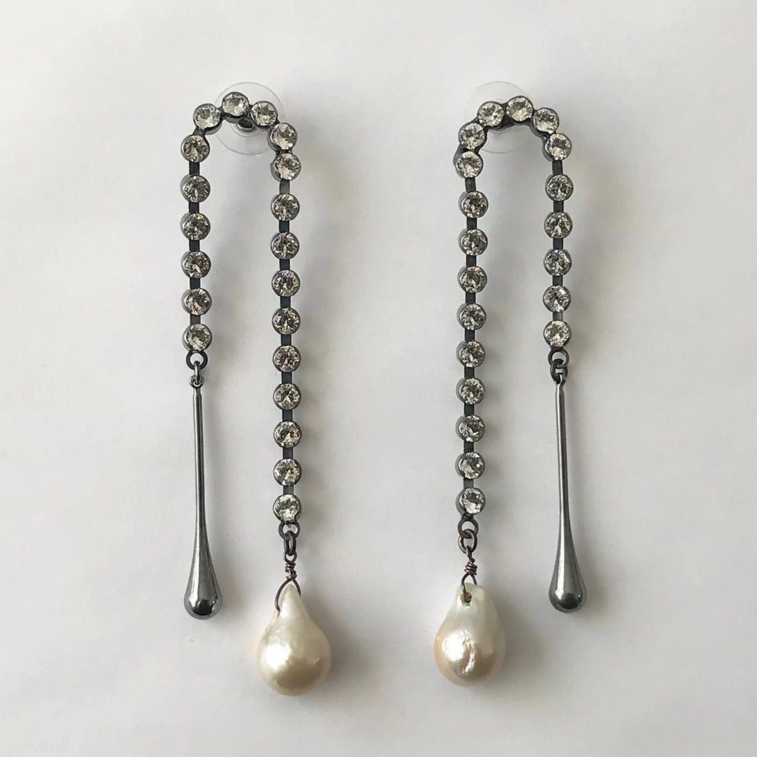 Juno Baroque Pearl and Metal Drop Earring - Heiter Jewellery