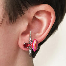 Load image into Gallery viewer, Red Silver Stud Earrings - Heiter Jewellery