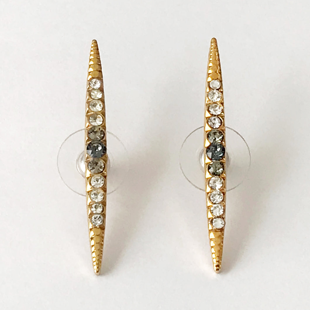 Gold Crystal Stud Earrings - Heiter Jewellery