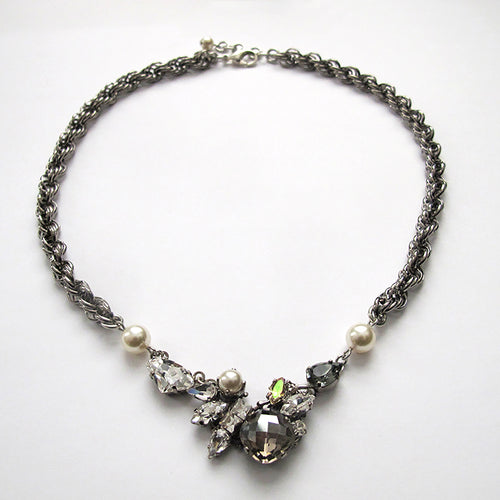 Black Diamond and Crystal Necklace - Heiter Jewellery