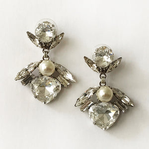 Crystal and Pearl Paloma Earrings - Heiter Jewellery