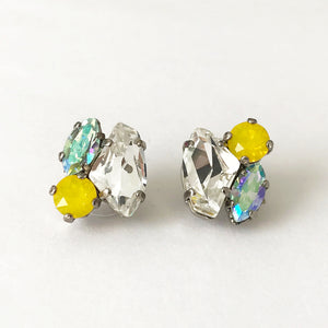 Crystal and Yellow Opal Cluster Stud Earrings - Heiter Jewellery