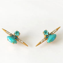 Charger l'image dans la galerie, Turquoise Gold Stud Earrings - Heiter Jewellery