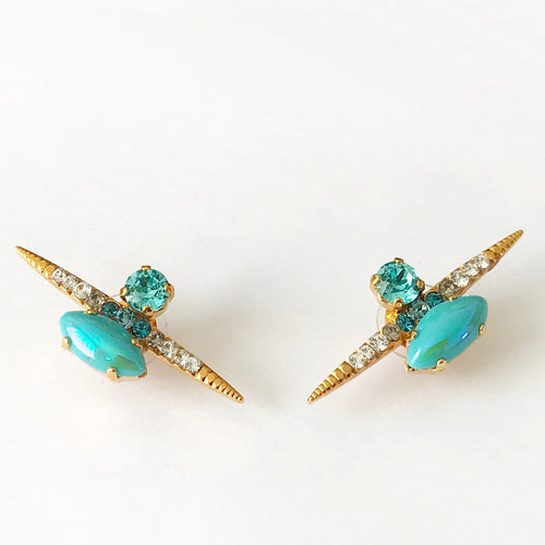 Turquoise Gold Stud Earrings - Heiter Jewellery