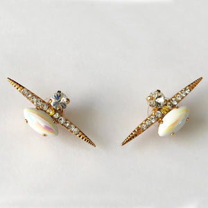 White AB Gold Stud Earrings - Heiter Jewellery