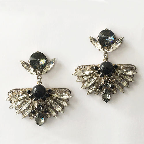 Chrysler Black Crystal Fan Earrings - Heiter Jewellery