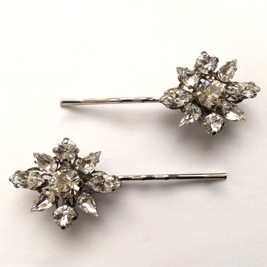 Crystal Flower Bobby Pin Set - Heiter Jewellery