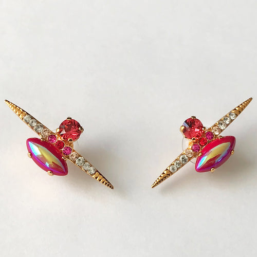 Red Gold Stud Earrings - Heiter Jewellery