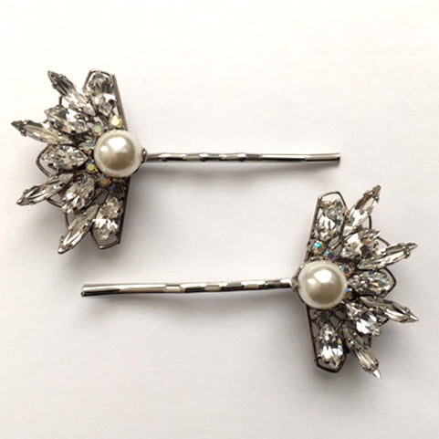 Swarovski Crystal and Pearl Fan Bobby Pin Set - Heiter Jewellery