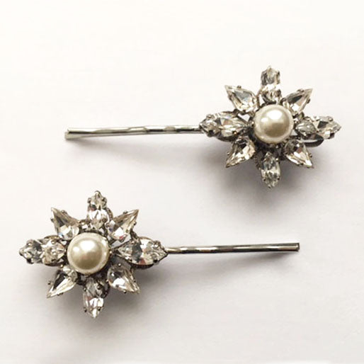 Crystal and Pearl Flower Bobby Pin Set - Heiter Jewellery